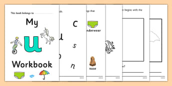 My Workbook u lowercase - workbook, u sound, lowercase, letters, alphabet, activity, handwriting, writing