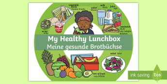 My Healthy Lunchbox Poster English/German - A Healthy Lunchbox Poster - health, lunchbox, poster, healthy, EAL, English-German,German-translatio