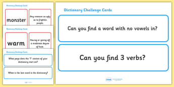 Dictionary Challenge Cards - dictionary, challenge, cards, challenging, matching, guess, guessing, activity, game, KS2, literacy