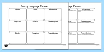 Poetry Planner Sheet - poetry, poem, poem planner, poetry writing planner, writing a poem, poem writing frame, poetry writing frame, how to write a poem, ks2