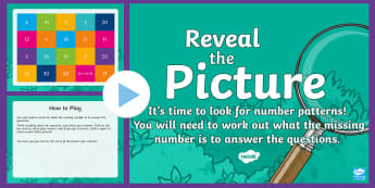 Number Patterns Reveal the Picture Plenary Activity - CfE Numeracy and Mathematics, ICT, interactive, revision, recap, number, number processes, patterns,