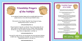 Friendship Week Prayers of the Faithful Print-Out - prayers of the faithful, Roman Catholic, religion, prayer service, assembly, print-out, Friendship w