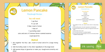 Lemon Pancake Playdough Recipe - EYFS, Pancake Day, February, 28th, lemon, shrove tuesday, pancake