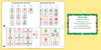 Brick Count and Build Busy Bag Prompt Card and Resource Pack - Toys, counting, reciting numbers, bricks, early years, maths, foundation, reception, nursery