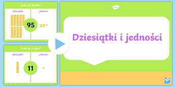 Prezentacja PowerPoint Dziesiątki i jedności - dziesiątki, jedności, dziesiątkowy, dziesiętny, system, zapis, zapisywanie, liczb, liczby, cyfry