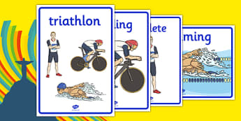 Rio 2016 Olympics Triathlon Sisplay Posters - Triathlon, Olympics, Olympic Games, sports, Olympic, London, 2012, display, banner, poster, sign, activity, Olympic torch, events, flag, countries, medal, Olympic Rings, mascots, flame, compete