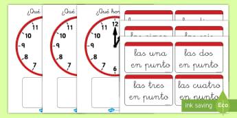Juego: Emparejar la hora - En punto - juego, emparejar, parejas, la hora, el tiempo, hora, reloj, relojes, en punto, las una, las dos, ana