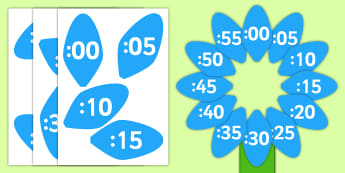 Analogue to Digital Clock Label Flower - clock, flower, petals