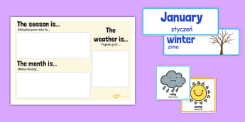 Month Weather and Season Calendar Polish Translation - polish, month, weather, season, calendar