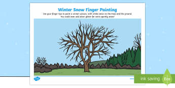Winter Snow Finger Painting Activity