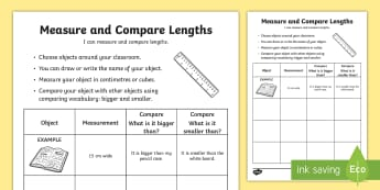 Measure and Compare Lengths Activity Sheet - Measure, estimate, compare, bigger, smaller, choose, objects, cubes, centimetres,Australia, workshee