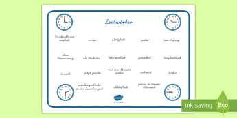 Zeit (Temporaladverbiale) Wortschatz: Querformat - Zeit, Temporaladverbiale, Grammatik, Wortschatz, Temporaladverbial, schreiben,German