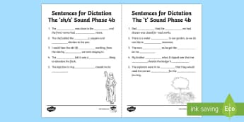 Northern Ireland Linguistic Phonics Stage 5 and 6, Phase 4b 'sh/s' and 't' Dictation Sentences Activity Sheets  - NI, sentences, Worksheets, words, sh', 't', sounds, phonics