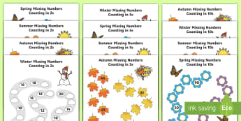 Seasons Path Missing Numbers Counting in 2s, 5s and 10s Activity Pack - Winter, worksheet, maths, counting, counting in 10s, number recognition, activity sheet, spring, sum