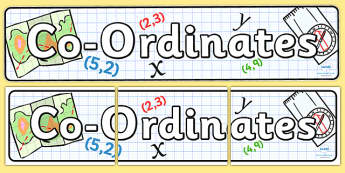 Co-ordinates Display Banner - display header, header, numeracy