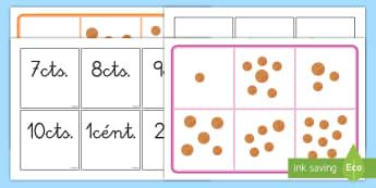 Bingo: Monedas - monedas, dinero, bingo, euros, céntimos, céntimo, euro, juego, emparejar, parejas, cantidad, núme