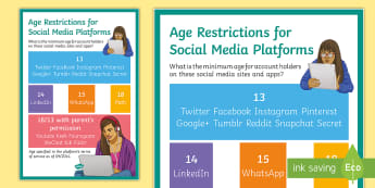 Age Restrictions for Social Media Platforms Poster - computer, responsibility, online, identity, safety, smartphone, display