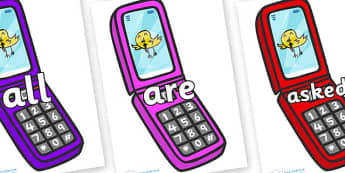 Tricky Words on Mobile Phone - Tricky words, DfES Letters and Sounds, Letters and sounds, display, words