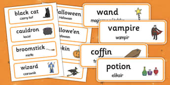 Halloween Word Cards Polish Translation - polish, halloween, word cards, word, cards, celebration, festival