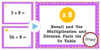 Multiplication Division Facts for 8 Times Table PowerPoint Test