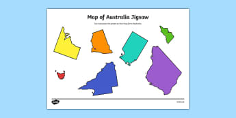 Map of Australia Jigsaw Cut and Paste Activity - geography, map, fine motor skills, identify, nation, citizenship, ks2, juniors