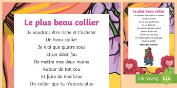 Feuille d'activités : Le plus beau collier - La fête des mères, cycle 3,cycle 2,  KS2, Mother's Day, 28th May, 28 mai, maman, poème, poésie,