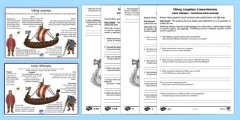 Viking Longships Information and Comprehension Activity English/Polish - Viking Longships Differentiated Reading Comprehension Activity - vikings, longships, comprehension,