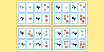 Money Matching Cards to 50p Mixed New Coins - money games, coin