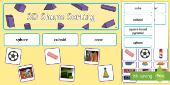3D Shape Sorting Interactive Display Pack - KS1, Maths, 3D, shape, sort, identify, name,
