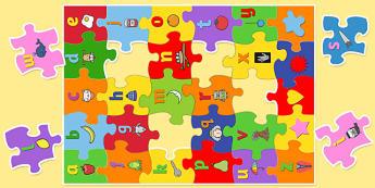 Large Alphabet Jigsaw with Images - alphabet, jigsaw, images