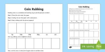 Coin Rubbing Activity Sheet - Coin rubbing, coins, british money, english money