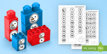 Number Snowman to 20 Connecting Bricks Game - EYFS Connecting Bricks Resources, Duplo, Lego, plastic bricks, winter, seasons, snow, Maths, number