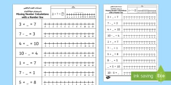 Missing Number Calculations with a Number Line Activity Sheet Arabic/English - numberline, worksheet, EAL,Arabic-translation