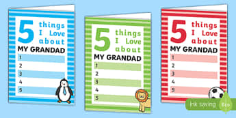 5 Things I Love About Grandad Father's Day Card Template - 5 things, i love, grandad, fathers day, template, card