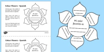 MFL Spanish Colour Flowers Activity Sheet, worksheet