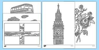 England Mindfulness Colouring Sheets - england, mindfulness, colouring, sheets, colour