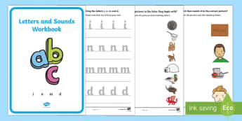 Letters and Sounds (i, n, m, d) Activity Booklet - Handwriting, English, Language, literacy, activity sheet, activity booklet, letter formation, phonic