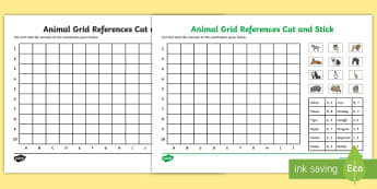 Animal Grid Reference Cut and Stick Activity - Animal Grid References Cut and Stick Activity - coordinates worksheet, co-ordinates worksheet, find