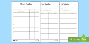 Shrove Tuesday True or False Quiz Template Activity Sheet - Australian Requests, shrove tuesday quiz template, questions on shrove tuesday, questions on pancake