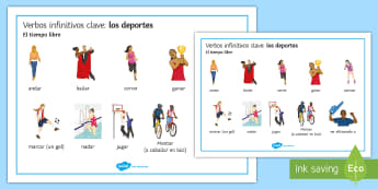 Sports Key Verbs Word Mat - Spanish  - Spanish, Vocabulary, sports, key, verbs, infinitives, word mat