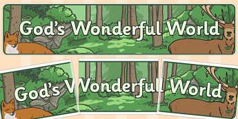 Gods Wonderful World Banner - god, wonderful, display, banner
