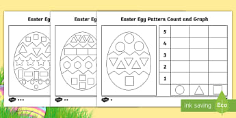 Easter Egg Pattern Count and Graph Activity Sheet - easter, eggs, graphs, pattern