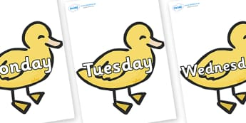 Days of the Week on Ducklings - Days of the Week, Weeks poster, week, display, poster, frieze, Days, Day, Monday, Tuesday, Wednesday, Thursday, Friday, Saturday, Sunday