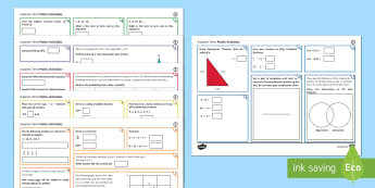 Half Term 1 Lower Ability Maths Activity Mats - maths, mat, activity, ks3, year, 7, 8, 9, half term, lower