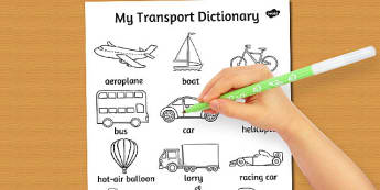 Transport Dictionary Colouring Sheet - transport, colour, sheet