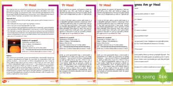 Yr Haul Blwyddyn 5 (Yr 5 Differentiated Reading The Sun) Darllen a Deall Gwahaniaethol-Welsh - Reading Comprehensions - Welsh medium/Welsh Language, gwyddoniaeth, darllen a deall, gwahaniaethol,