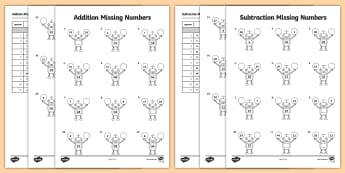 Addition and Subtraction Missing Numbers Robot Themed Activity Sheet  - worksheet, addition, add, subtract, subtraction, mental calculation, mental, missing number, problem
