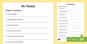 My House Activity Sheet Gaeilge - Gaeilge - Sa Bhaile, Irish, My house, mo theach, activity sheet,Irish