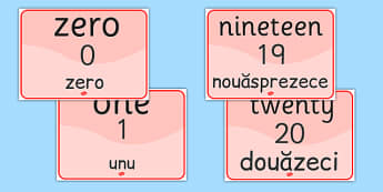 Number Signs EAL Romanian Translation - romanian, numbers, EAL signs, number sign