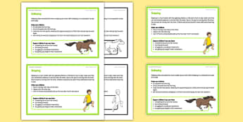 Foundation PE (Reception) - Skipping and Galloping Teacher Support Cards - EYFS, PE, Physical Development, Planning